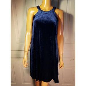 Betsey Johnson velvet swing dress dark navy blue